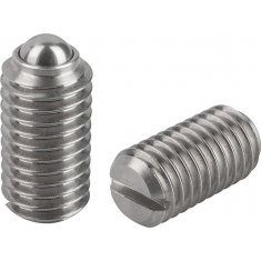 Stainless steel spring plunger with ball and slot